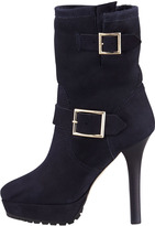 Jimmy Choo Dylan Rabbit-Lined Biker Boot