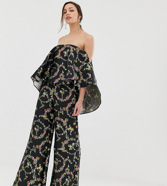 Asos DESIGN Tall jumpsuit with structured overlay in floral print