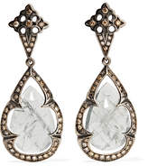 Loree Rodkin 18-karat Rhodium White Gold, Sapphire And Diamond Earrings - Silver