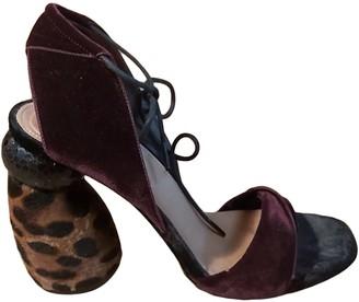 Dries Van Noten Burgundy Velvet Sandals