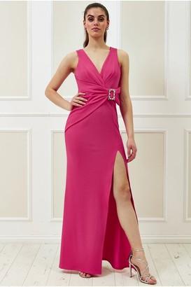 Goddiva Vicky Pattison Cerise Buckle Front Maxi Dress