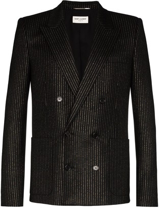 Saint Laurent Metallic Pinstripe Double-Breasted Blazer
