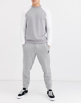 Converse small logo cuffed joggers in grey