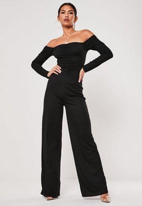 Missguided Black Ruched Bardot Wide Leg Romper