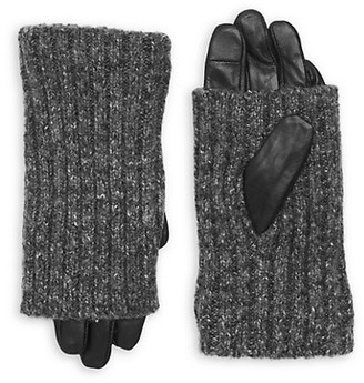 Carolina Amato Touch Tech Leather & Knit Gloves