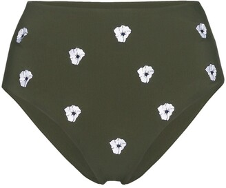 Anémone High-Waisted Floral-Embroidered Bikini Bottoms