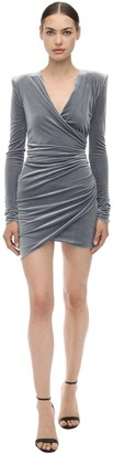 Alexandre Vauthier Draped V Neck Stretch Velvet Mini Dress