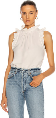Frame Flounce Sleeveless Top in Off White | FWRD
