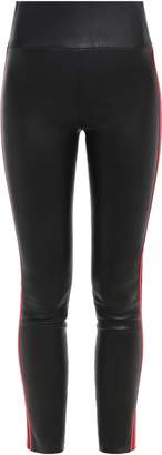 Sprwmn Cropped Striped Stretch-leather Leggings
