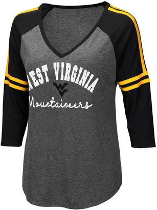 Colosseum Women's Charcoal West Virginia Mountaineers Curling 3/4-Sleeve V-Neck T-Shirt