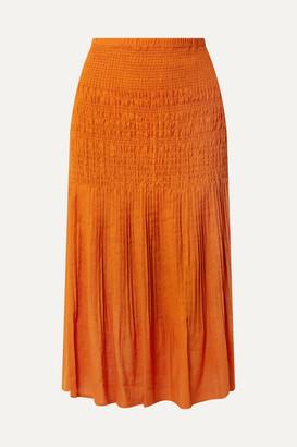 Nicholas Smocked Gauze Midi Skirt - Orange
