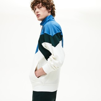 Lacoste Men's Standup Collar Color-Blocked Cotton Fleece Jacket