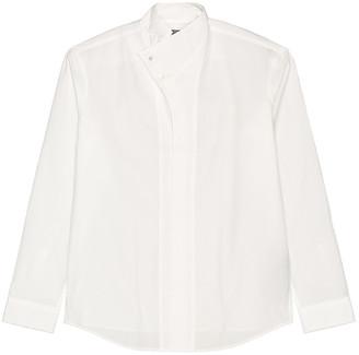 Balmain Asymmetric Collar Cotton Shirt in Blanc | FWRD