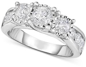 TruMiracle Diamond Three Stone Engagement Ring (2 ct. t.w.) in 14k White Gold