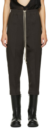 Rick Owens Brown Cropped Astaire Drawstring Trousers