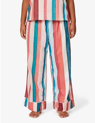 Desmond & Dempsey Medina striped wide organic cotton pyjama bottoms