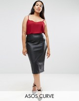 Asos Sculpt Me Leather Look Pencil Skirt