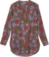 Joe Fresh Women's Print Mandarin Collar Tunic, Khaki Green (Size S)