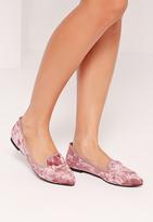 Missguided Velvet Slipper Loafers Pink