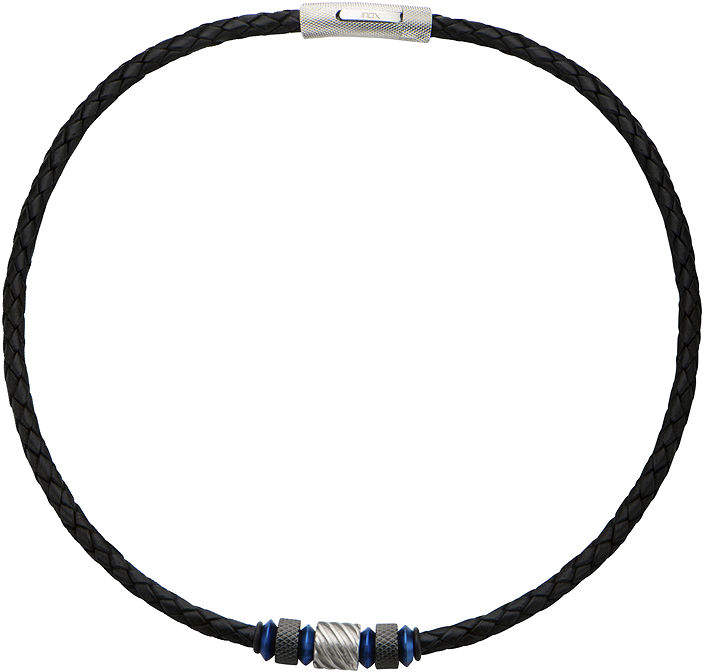 Celtic FINE JEWELRY Inox Jewelry Mens Knot Stainless Steel & Black Leather Braided Necklace