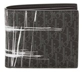 Christian Dior Darklight Scribble Canvas & Leather Bifold Wallet.