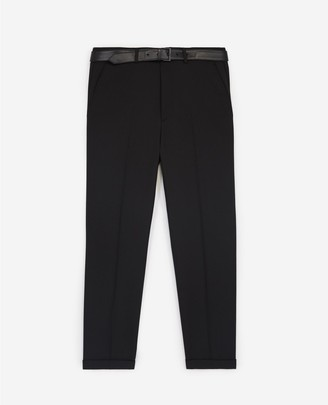 The Kooples Black suit trousers with leather belt
