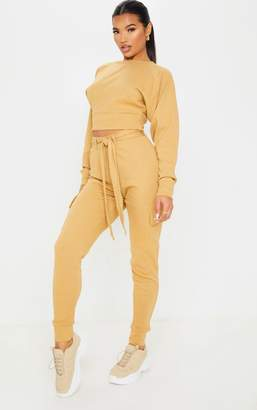PrettyLittleThing Camel Knitted Pocket Detail Cargo Trouser