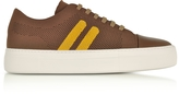 Neil Barrett Cognac/Buttercup Perforated Fabric and Nappa Leather Skateboard Sneakers