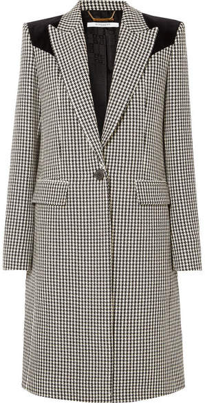 Givenchy Velvet-paneled Houndstooth Wool Coat - Black