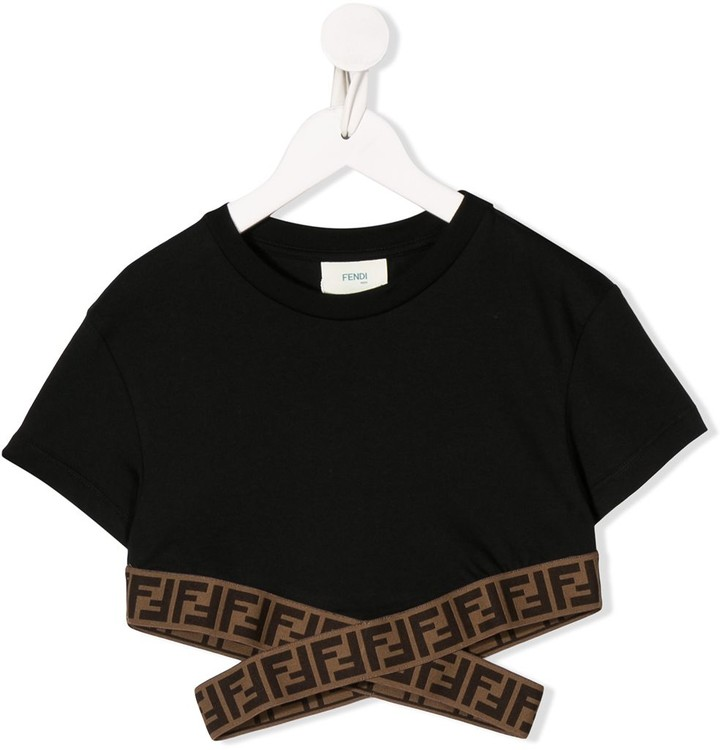 Fendi Kids logo tape cropped T-shirt