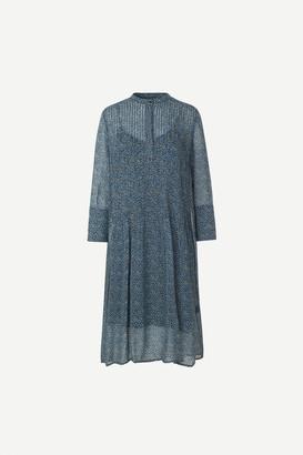 Samsoe & Samsoe Elm shirt dress in Blue Twiggy print - viscose | blue | XXS - Blue/Blue