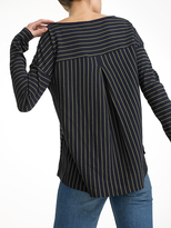 White + Warren Combed Cotton Directional Stripe Boatneck