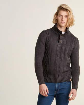 Weatherproof Vintage Military Button Long Sleeve Mock Neck Sweater