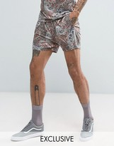 Reclaimed Vintage Inspired Shorts In Khaki With Paisley Print