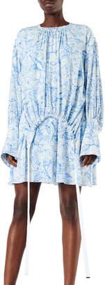 Tibi Isa Toile Drawstring Crepe De Chine Dress