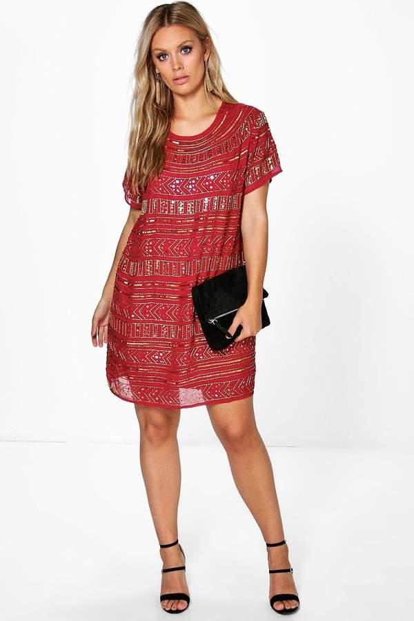 boohoo Plus Sequin Embellished Shift Dress