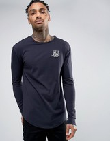 SikSilk Long Sleeve Muscle T-Shirt In Navy