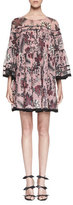 Chloé Cactus-Print Silk Babydoll Dress, Pink/Burgundy