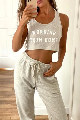"""Outrageous Fortune Loungewear """"Working"""" From Home Slogan Crop Top In Grey"""