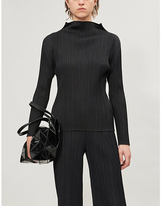 Pleats Please Issey Miyake Basic high-neck long-sleeved pleated satin top