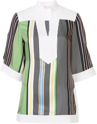 Tory Burch Open-Collar Striped Tunic