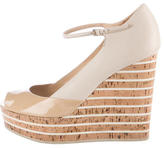 Gucci Peep-Toe Cork Wedges