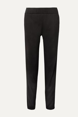 CALÉ Lily Ribbed-knit Paneled Stretch Modal-blend Track Pants - Black