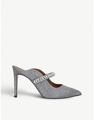 Kurt Geiger Duke crystal-embellished leather heeled mules