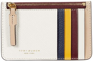 Tory Burch Perry Color-Block Top Zip Card Case (New Ivory/Perfect Sand) Handbags