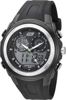 Skechers Men's '4-Pusher Ana-Digi' Quartz Plastic Casual Watch, Color:Black (Model: SR1080)