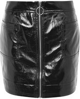 Topshop Zip through vinyl mini skirt