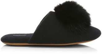 Minnie Rose Fox Fur Pom-Pom Cashmere Slippers