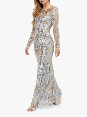 Monsoon Lily Sequin Maxi Dress, Silver