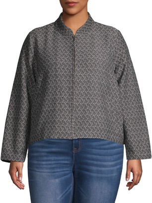 Eileen Fisher Plus Recycled Fabric Woven Zip Jacket